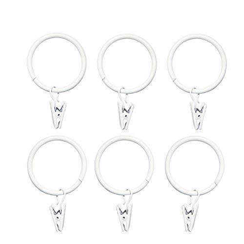LIMNUO 1.5 inch Metal Curtain Rings with Clips Set of 14