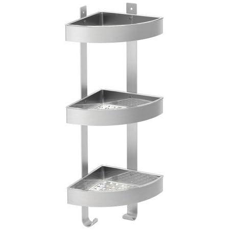 Ikea Grundtal - Estantería para ducha (acero inoxidable, 3 pisos, 26 x 58 cm)