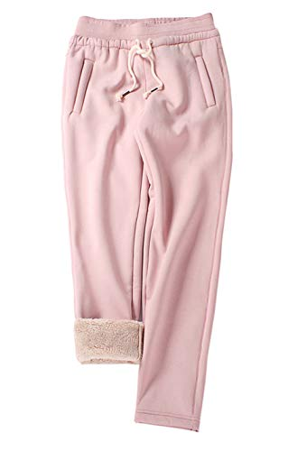 Gihuo Women's Winter Fleece Pants Sherpa Lined Sweatpants Active Running Jogger Pants (Pink, Large)