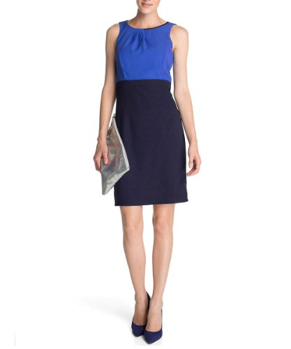 ESPRIT Collection Damen Etuikleid (knielang) 083EO1E027, 42 (XL), Blau (403 iris blue)
