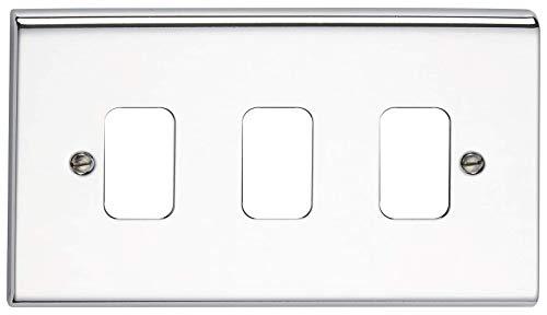 Deta G3423CH 'Slimline Decor' Grid Switch Cover Plate - Polished Chrome 3 Gang