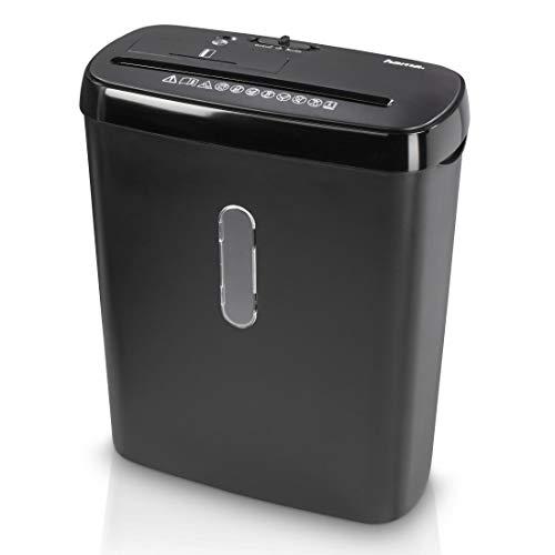 Hama Dokumentförstörare för hemmakontoret (randigt snitt 6 mm, automatisk remsapparat upp till 8 pappersark CD-skivor, plastkort, 11 liters papperskorg, automatisk start/stopp, säkerhetsnivå P2) svart