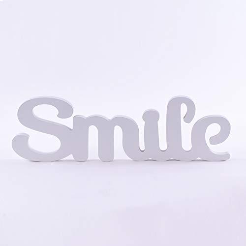 Homevibes Letras De Madera con Frase Smile Ideal para Decoracion Medidas 40x12cm Ideal para Pared De Dormitorio Comedor Puede Colocarse De Pie por Si Solas
