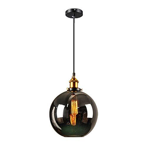 Wings of wind - Suspension Gris fumée, Abat-Jour en Verre E27 avec tête de Lampe en cuivre (Sphérique)