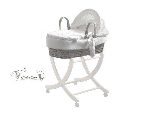 Pali fahrbares Untergestell für Babykörbe Buche massiv weiß Zizzi & Koko