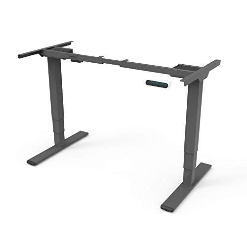 SANODESK EQ Höhenverstellbarer Schreibtisch Elektrisch höhenverstellbares Tischgestell 3-Fach-Teleskop, mit Memory-Steuerung (Grau)