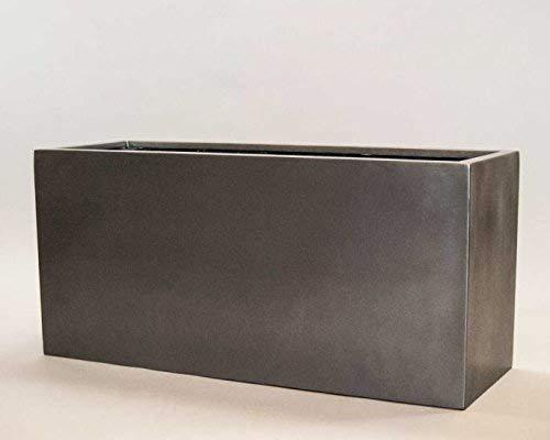 Pflanztrog Blumentrog Raumteiler Fiberglas rechteckig LxBxH anthrazit metallic 100x40x50cm