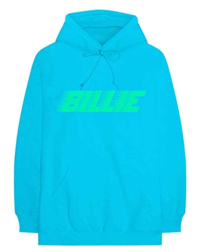 Billie Eilish Unisex Pullover Hoodie: Logo & Blohsh (Back Print) - X-Large - Blue