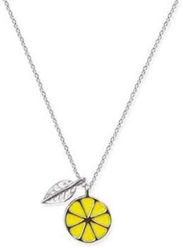 LBBYLFFF Collar Literario Temperamento Fresco Joyas de Plata Collar con Colgantes de Hojas de Fruta de Limón
