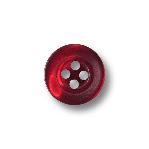 Knopfparadies - 15er Set kleine dunkel rot Schimmernde Vierloch Blusen o. Hemden Knöpfe in Perlmutt Optik mit Zwei Zierkreisen/perlmuttartig weinrot bis dunkelrot/Kunststoffknöpfe/Ø ca. 12mm