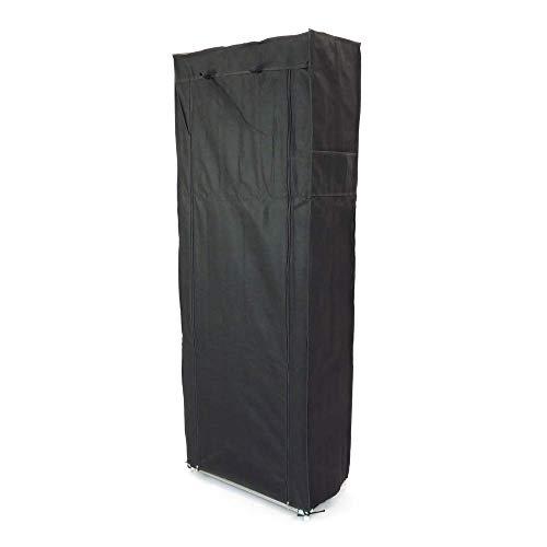 PrimeMatik - Armario ropero y Zapatero de Tela Desmontable 60 x 30 x 160 cm Negro con Puerta Enrollable