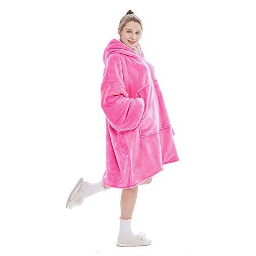 Dewellyoo Übergroße Sherpa Hoodie, Unisex Hoodie, tragbare Kapuzendecke, super warm, weich, bequem, Kapuzenpullover, Decke, Einheitsgröße für alle Menschen (1,3 kg) Gr. One Size (Rose Red Adult)