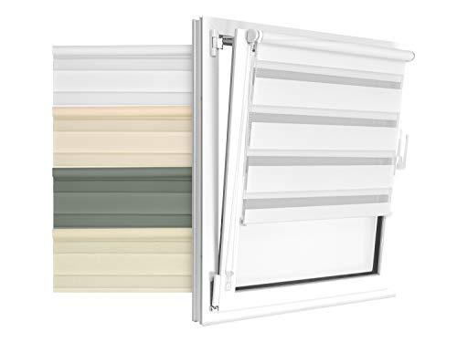 Doppelrollo in 4 Farben & in 8 Größen - mit Klemmfixierung am Fensterahmen und fest montierter Trägerschiene - kinderleichte 3-Step Montage, ca. 80 x 150 cm, weiß
