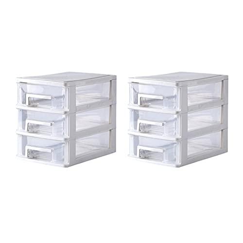 Ming Ming 2/3/4 strati trasparente scrivania tipo cassetto scatola di immagazzinaggio di plastica mini cosmetici organizer vario titolare (colore : 2 pezzi bianco 3 strati)