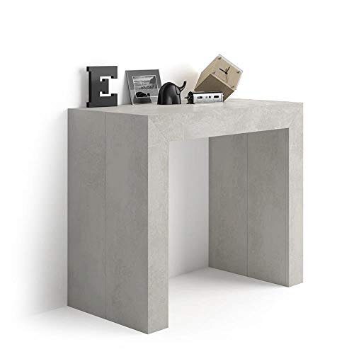 Mobili Fiver, Extendable Console Table Angelica, Grey Concrete, Laminate-finished/Aluminium, Made in Italy