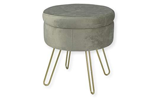 Avior Home Sitzhocker Schminkhocker aus Samt Gepolsterter Hocker Aufbewahrungsfußhocker mit Metallbeine (Hellgrau)