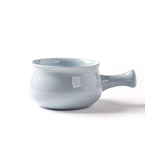 YYF Bol petit-déjeuner anti-brûlure à poignée en céramique - bol à bouillie bol à céréales bol bol à salade de fruits bol (Color : Light blue)