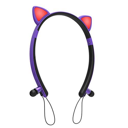 WDFVGEE lindo gato auriculares portátiles inalámbrico Bluetooth magnético auriculares para niña regalos equipo audio