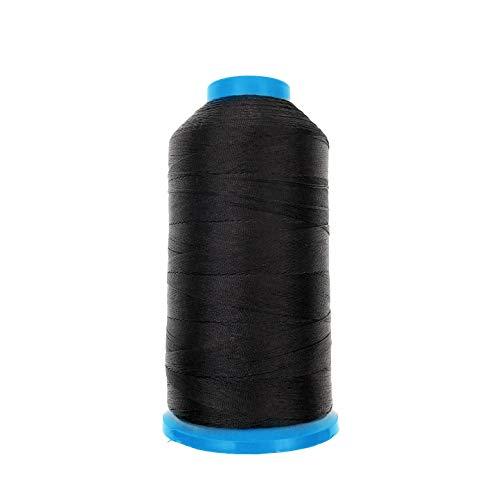 JZK 1500 yardas T70 69 # negro fuerte durable enlazado hilo de coser de nylon para tapicería cuero jeans lona alfombra cortina rebordear para máquina industrial, overlock, costura a mano