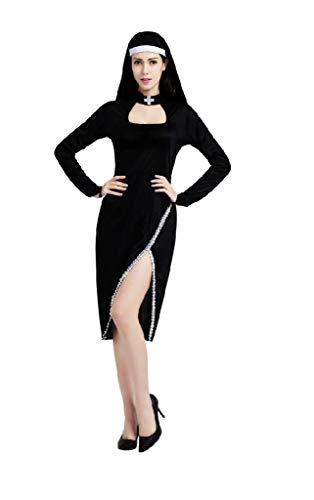 EVRYLON Disfraz de Monja Mujer - Chica Vestida de Carnaval Monja Sexy Sexy Talla única Cosplay