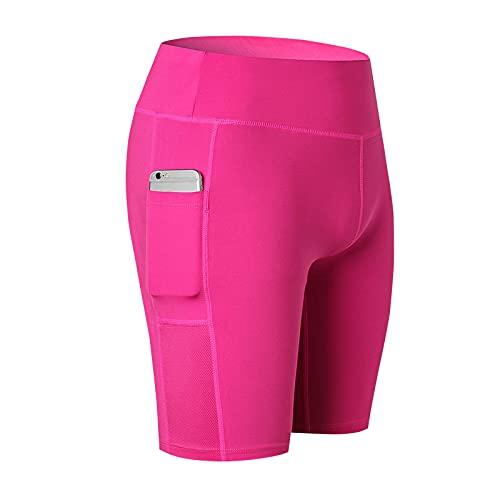 Pantalones Cortos de Yoga para Mujer Fitness Running Stretch Tight Secado rápido Delgado Cómodo Bolsillo Lateral Pantalones de Cinco Puntos M