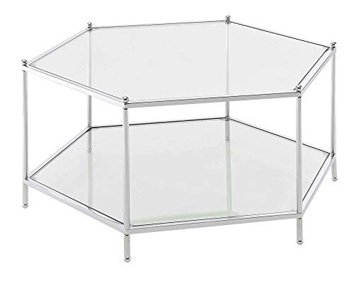 Convenience Concepts Royal Crest Hexagonal Chrome Coffee Table, Clear Glass / Chrome Frame