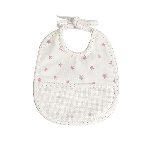 Babero para bebé con estrellas y cierre con lazos, 100% algodón, 18 x 21 cm (rosa) 5