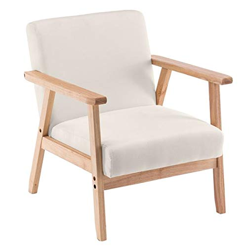 Lsooyys Armchair Mid-Century Accent Chair with Solid Wood Legs Padded Seat,Retro Linen Fabric Armchair for Bedroom Dining Living Room Lounge Office Club (Burlywood Beige)