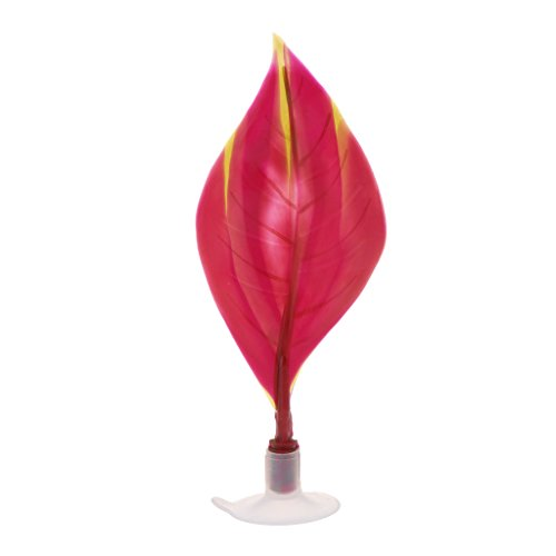 Lunji Plante Artificielle avec Ventouse Feuille de Betta - Decoration pour Aquarium (Rouge)