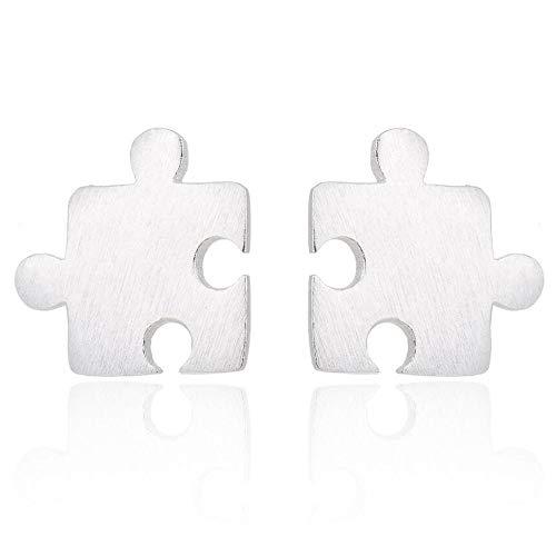 Shabana - Pendientes de puzle de plata 925 – Idea regalo San Valentín para mujer – Joya original
