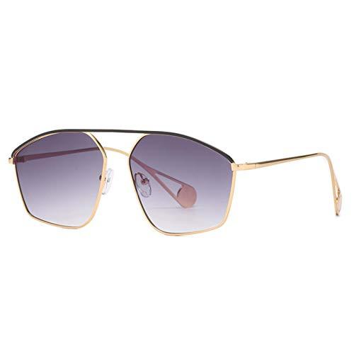 UKKD Gafas De Sol Mujeres Gafas De Sol De Metal Irregular Retro Mujeres De Moda Océano Claro Lente Ojos Tendencias Hombres Azul Amarillo Sol Sombrillas Sombras-Gray Gradient