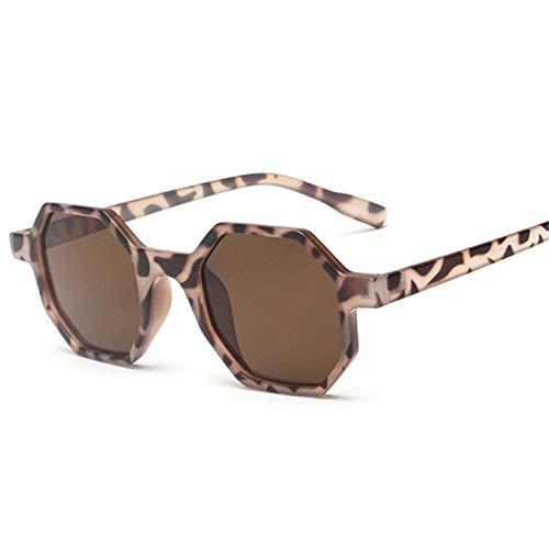 FEINENGSHUAInstyj Gafas Sol Mujer, Pequeñas Gafas de Sol Señoras Retro Polígono Negro Rosa Rosa Gafas de Sol Red Sunglass Moda Gafas Retro Espejo (Lenses Color : Leopard)