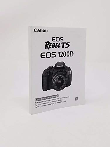 Canon EOS Rebel T5 Digital Camera User's Instruction Manual Book, Basic Instruction Manual