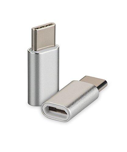 yayago USB 3.1 Typ-C auf Micro USB Adapter für Acer Liquid Jade Primo/Asus Zenfone 3 Zoom/Asus Zenfone AR/Chuwi Hi 10 Pro/Medion Akoya P3401T Typ C Kabel Stecker Silber