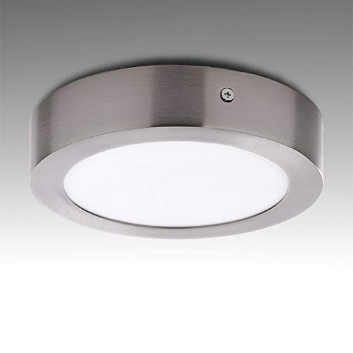 Greenice | Plafón LED Circular Ø171Mm 12W 860Lm 50.000H Niquel Satinado | Downlight LED | Panel LED Techo | Lamparas de techo | Salón, Pasillos, Dormitorio, Oficina, Baños | Blanco Frío