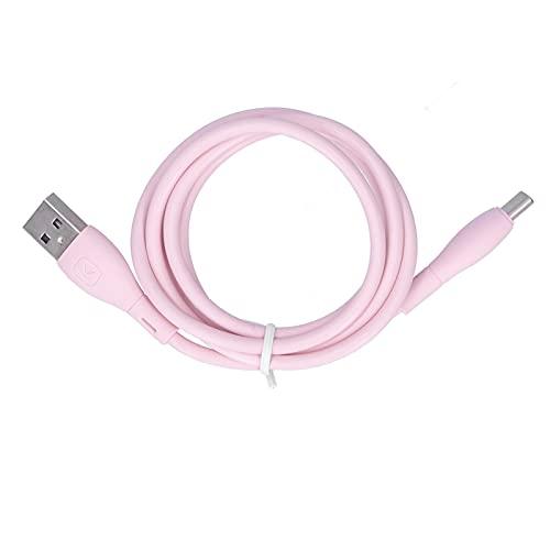 Dpofirs Cable USB de Carga rápida Tipo C, Cable de Silicona líquida Cable de Cargador USB C para teléfono Android, Compatible con Carga y transmisión de Datos, Rosa(Los 0.25m)