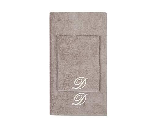 Juego de toallas con inicial bordado, toalla para la cara, toalla de invitados, iniciales bordadas, fabricadas en Italia, color gris tostado bordado letra D color crema
