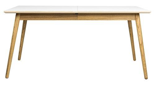 Tenzo DOT Designer Table à manger rectangulaire avec allonge, MDF Massif, HPL Blanc/Chêne, 160 x 90 x 75 cm