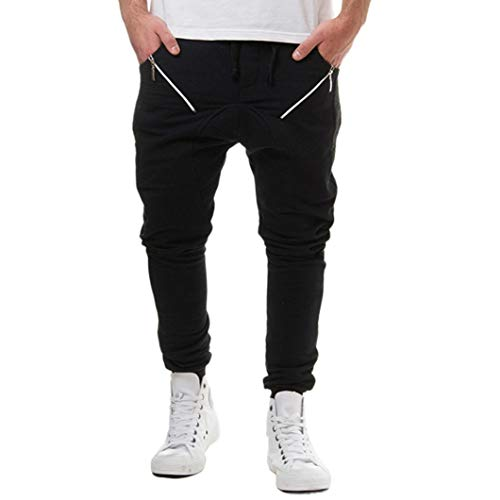 TEELONG Hosen Herren Freizeit Herbst Baumwoll-Patchwork-Reißverschluss Sport Laufen Fitness-Jogger Hosen Hose Jogginghose Trainingshose Trainingsanzüge Overalls Fleece-Hose(L, Schwarz)
