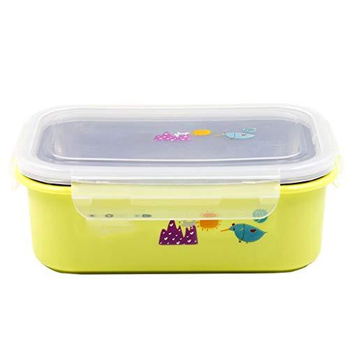 JJZXT Niños Bento Box Picnic Actividad al Aire Libre Viaje Cocina Almacenamiento de Alimentos Contenedor de Aislamiento de Calor de Acero Inoxidable Caja de Almuerzo