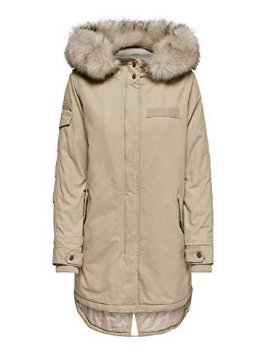ONLY Damen Winter Mantel OnlMay Canvas Parka Jacke Fellkapuze, Farbe:beige, Größe:XS
