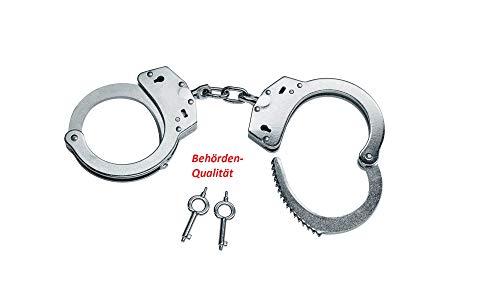 KS-11 Polizei Handschellen mit Kette und Schlüssel für Security Ausrüstung – handcuffs zum fesseln - kein Spielzeug – Behörden Qualität aus Stahl zum TOP PREIS