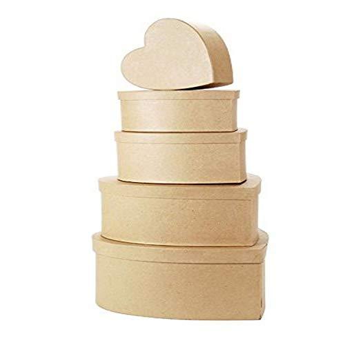of darice box sets Darice 2849-14 Paper Mache Heart Box Set 5