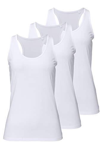 H HIAMIGOS Damen Sporttop Yoga Tanktop Unterhemd Ringerrücken Workout Laufen Fitness Funktions Shirt aus Feinripp mit Rundhals 3er-Pack, S, 3X weiß