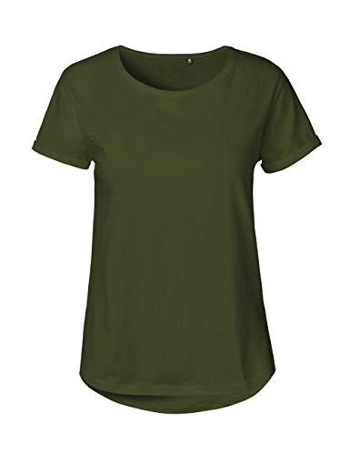 Green Cat Camiseta de manga corta para mujer, 100% algodón orgánico. Certificado de comercio justo, Oeko-Tex y Ecolabel verde oliva XXL