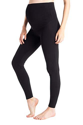 MAMARELLA Modal Umstandsleggings mit Überbauchbund schwarz, blickdichte Leggings für die Schwangerschaft aus atmungsaktivem Modal für Sport & Freizeit, hoher Tragekomfort auch nach der Geburt (M)