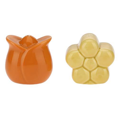 THUN - Set Sale e Pepe sagomati Country - Porcellana - a Forma di Tulipano e Margherita - Pepe 5,5 x 5 x 5,5 cm h; Sale 5,5 x 4 x 5,5 cm h