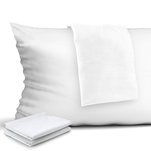 CAROMIO 4-Pack Zippered Pillow Protectors, Premium 400 Thread Count 100% Egyptian Cotton White Zippered Pillowcases Pillow Covers, Queen
