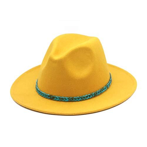 FGHOMEAQYZ 1 Cappello di Lana da Uomo, Cappello Jazz a Catena Turchese, Cappello di Feltro da Donna-Giallo_56-58 cm