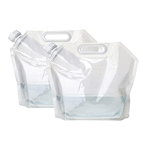 LUWEI 2 Pack Placa Plegable Contenedor de Agua Potable, Bolso de Agua Plegable al Aire Libre Contenedor de Portador de Agua para Deporte Camping Senderismo Picnic Contenedores de Agua,5L